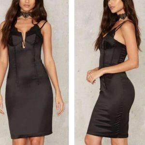 NWT Bardot Bella Corset Mini Satin Black Dress
